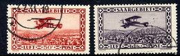 SAAR 1928 Airmail 50 C. And 1 Fr. Used.  Michel 126-27 - 1920-35 Società Delle Nazioni