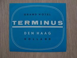 ETIQUETTE D'HOTEL TERMINUS DEN HAAG HOLLAND - Etiketten Van Hotels
