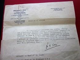 WW2 ATTESTATION CERTIFICAT SUR ORDONNANCE SERVICE OTO-RHINO-LARYNGOLOGIE CLINIQUE SAINT-JEAN TOULON Document Militaire - Documents
