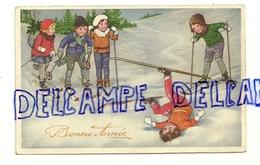 Bonne Année. Enfants à Skis, Chute - Illustrateurs & Photographes