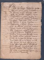 Manuscrit De 1651.Belle Calligraphie à Déchiffrer. Saint-Victor-Malescours - Manuscrits
