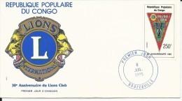1985 - CONGO - ENVELOPPE FDC ANNIVERSAIRE Du LIONS CLUB INTERNATIONAL - FDC