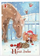 Postal Stationery SAVE THE CHILDREN  Finland - CHRISTMAS POSTCARD - GNOME & HORSE & BIRDS - BULLFINCHES - Postage Paid - Finland