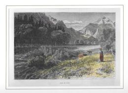 1891 PRÈS DE SION → Colorierter Holzstich 190 X 125 Mm - Estampes & Gravures