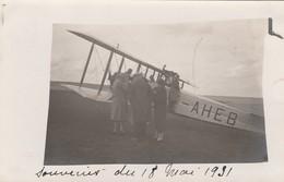 "CARTE PHOTO:AVION  ""- AHEB "" AU SOL 18 MAI 1931 - Avions"
