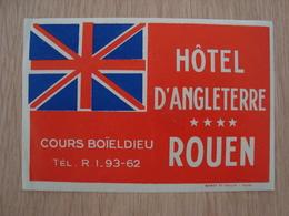 ETIQUETTE D'HOTEL D'ANGLETERRE ROUEN - Etiquettes D'hotels