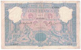 "France 100 Francs ""Bleu Et Rose"" – 27.12.1905 - 1871-1952 Circulated During XXth"
