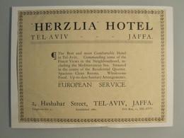 ISRAEL PALESTINE PENSION REST HOUSE HOTEL HERZLIA TEL AVIV VINTAGE ADVERTISING DESIGN ORIGINAL - Hotel Labels
