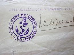 1933 ATTESTATION CERTIFICAT S ORDONNANCE SCE CHIRURGIE HÔPITAL MARITIME SIDI-ABDELLAH PORT BIZERTE-TUNISIE-Doc Militaire - Documents