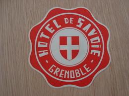 ETIQUETTE D'HOTEL DE SAVOIE GRENOBLE - Etiquettes D'hotels