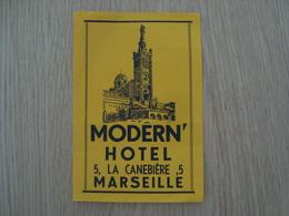 ETIQUETTE D'HOTEL MODERN' MARSEILLES - Etiquettes D'hotels