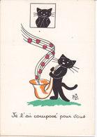 """Illustrateur BIZ  Humour  CHAT Noir - """"  Je L'ai Composé Pour Vous   """" - Other Illustrators"""