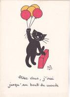 """Illustrateur BIZ  Humour  CHAT Noir - """" Avec Vous J'irai Jusqu'au Bout Du Monde   """" - Illustrators & Photographers"""