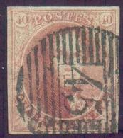 N°5 - Médaillon 40 Centimes Carmin-rose, TB Margé, Obl. P.45 GAND Centrale Et Nette. TTB    -13788 - 1849-1850 Médaillons (3/5)