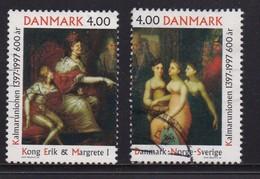 DENMARK, 1997, Used Stamp(s), Kalmarar Union, MI 1153-1154, #10231, Complete Loose - Denmark