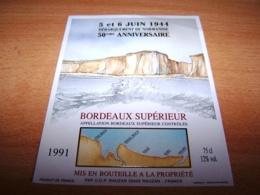 Etiquette Vin Wine Label Militaire Debarquement Normandie Anniversaire Dday Liberation 6 Juin 1944 50eme - Cinquantenaire De La Libération