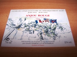 Etiquette Vin Wine Label Militaire Debarquement Normandie Anniversaire Lanjou Liberation 6 Juin 1944 50eme Allié - Cinquantenaire De La Libération