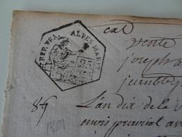 An 10, 13 Prairial (Alpes-Maritimes) Timbre De 25c époque Révolutionnaire Commune De Guillaumes - Cachets Généralité