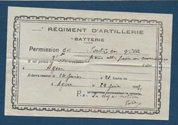 AGEN - Régiment D'Artillerie - Permission De Sortie En Ville  1917 - Documents