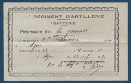 AGEN - Régiment D'Artillerie - Permission De La Journée  1917 - Documents