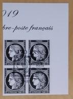 Cérès Bloc 4T 0.20 € Bord De Feuille Non Dentelé, 170 Ans Du Premier Timbre De France - OBLITERE 1er JOUR 14.03.19 - France