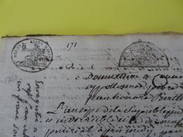 An 7, 19 Prairial (Alpes-Maritimes) Timbre Ovale époque Révolutionnaire Avec Complément De Tarif Commune De Guillaumes - Cachets Généralité