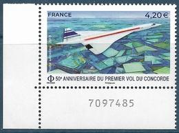 PA 83 50e Anniversaire Du Premier Vol Du Concorde Coin Numéroté (2019) Neuf** - Poste Aérienne