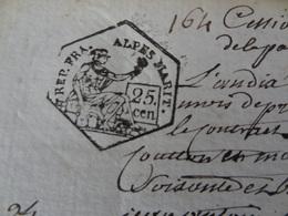 An 10, 30 Prairial (Alpes-Maritimes) Deux Timbres De 25c époque Révolutionnaire (164) - Cachets Généralité