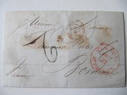 MARQUE POSTALE ,  LETTRE   NEW YORK Vers  BORDEAUX   1854 - Marcophilie (Lettres)