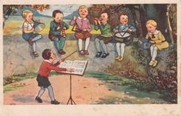 Harmonica Accordeon Orgue De Rue Street Organ Triangle Music Enfant Old  Cpa. 1930 - Musique Et Musiciens