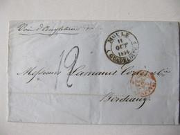 MARQUE POSTALE ,  LETTRE   GUADELOUPE   MOULE  Vers  BORDEAUX   1854 - Marcophilie (Lettres)