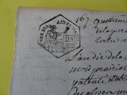 An 10, 30 Prairial (Alpes-Maritimes) Timbre De 25c époque Révolutionnaire Commune De Guillaumes (167) - Cachets Généralité