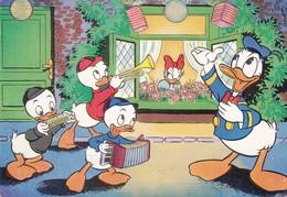 Harmonica Accordeon Donald Duck Kwik Kwek Kwak Music Old  Cpa. - Musique Et Musiciens