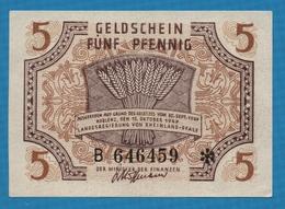 DEUTSCHLAND RHEINLAND-PFALZ   5 Pfennig15.10.1947Serie B 646459  P# S1004 - [ 5] Ocupación De Los Aliados