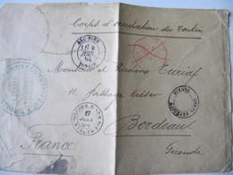 MARQUE POSTALE ,     TIRAILLEURS  TONKINOIS      TONKIN  Vers  BORDEAUX    1894 - Marcophilie (Lettres)