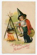 HALLOWEEN . Chat Noir Et Petite Sorcière Black Cat And Little Witch - Halloween