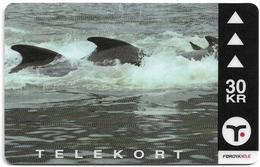 Faroe - Faroese Telecom (Magnetic) - GSM Pilot Whales #1 - 30Kr. - 15.000ex, Used - Faroe Islands