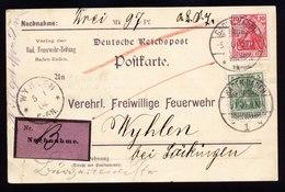 A5957) DR Nachnahmekarte Baden-Baden05.01.04 N. Wyhlen Feuerwehr-Zeitung - Germany