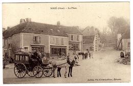 NOCÉ (61) - La Place - VOITURE À CHEVAL - Ed. Vve Cerné-Lelièvre, Epicerie - Francia