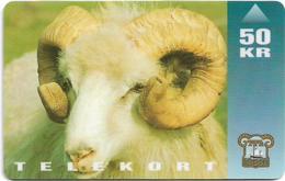 Faroe - Faroese Telecom (Magnetic) - Ram Animal - 50Kr. - 10.000ex, Used - Faroe Islands