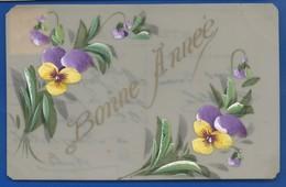 Carte En Cellulose    Peint à La Main  Fleurs   BONNE ANNEE - Anno Nuovo