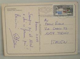 1987 Germania Storia Postale Cuxhaven Targhetta Con Isolato Europa  Cartolina Bremen Per Italia - [6] Repubblica Democratica