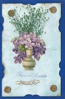 Carte Découpi    Vase Avec Des Fleurs   Bonne Année    écrite En 1907 - Anno Nuovo