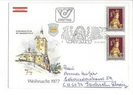 21622 - Christkindl 1977 Lettre Ersttag Pour Sachsseln 25.11.1977 Burg Mariastein Mit Gnadenkapelle - Noël