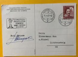 8081 -Carte Congrès Philatélique Suisse Brunnen 15.06.1957 - Switzerland