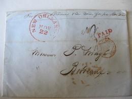 MARQUE POSTALE ,     LETTRE  NEW  ORLEANS  Vers  BORDEAUX     1822 - Marcophilie (Lettres)