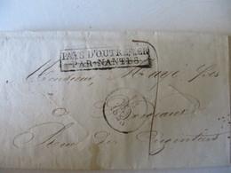 MARQUE POSTALE ,     LETTRE   PURIFIEE    PAYS D'OUTREMER Vers  BORDEAUX     1828 - Marcophilie (Lettres)