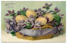 EASTER JOYS : EGGS IN WICKER BASKET / ADDRESS - CARISBROOKE MILL, ISLE OF WIGHT / POSTMARK - NEWPORT - Easter