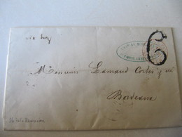 MARQUE POSTALE ,     LETTRE     SAINT PIERRE  REUNION  Vers  BORDEAUX     1857 - Marcophilie (Lettres)