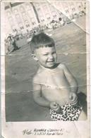 GARCONS BOYS Smiling Boy S Nude Nu In Leopard Swimsuit By Beach Plage Carte Photo 1950' Postcard - Anonymous Persons